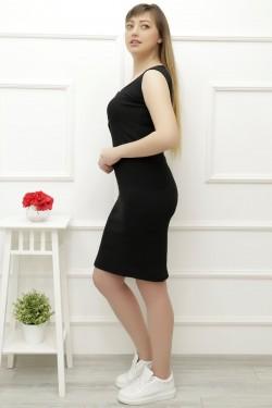 Önü Düğmeli Siyah Elbise