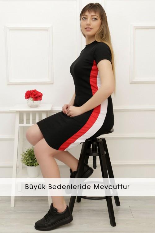 Siyah Yanı Çizgili Elbise