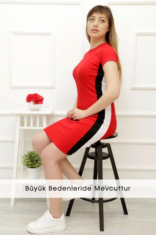 Kırmızı Yanı Çizgili Elbise