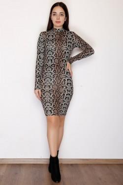Viskon Yılandesenli Elbise