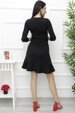 Volanlı Siyah Mini Elbise
