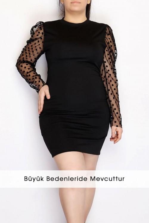 Kolları Tül Detaylı Siyah Mini Elbise