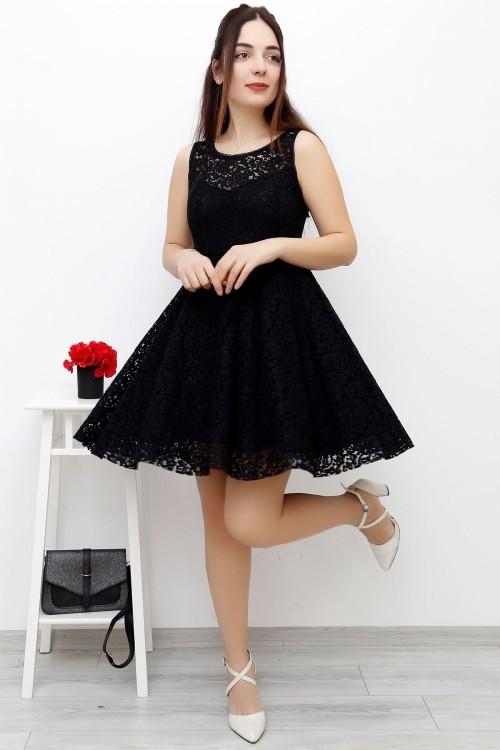 Siyah Dantelli Astarlı Güpür Elbise