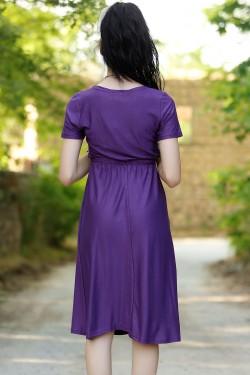 Kısa Kruvaze Elbise Mor - 4277.716.