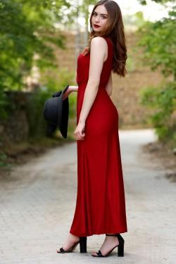 Sıfır Kol Bordo Midi Kruvaze Elbise
