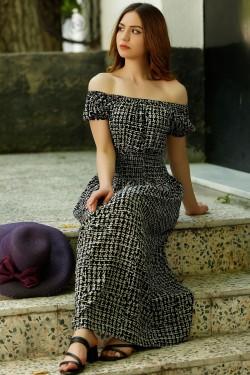 Karpuz Kol Siyah Beyaz Desenli Şık Elbise