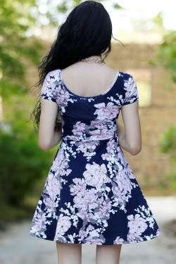 Lacivert Pudra Desenli Kloş Mini Elbise