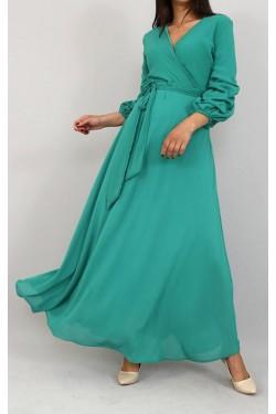 Kuşaklı Yeşil Uzun Şifon Elbise