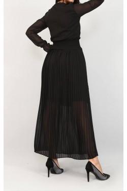 Eteği Piliseli Siyah Şifon Elbise