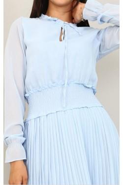 Eteği Piliseli Mavi Şifon Elbise