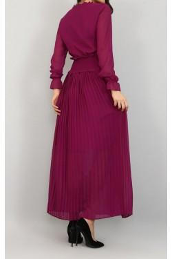 Eteği Piliseli Mor Şifon Elbise