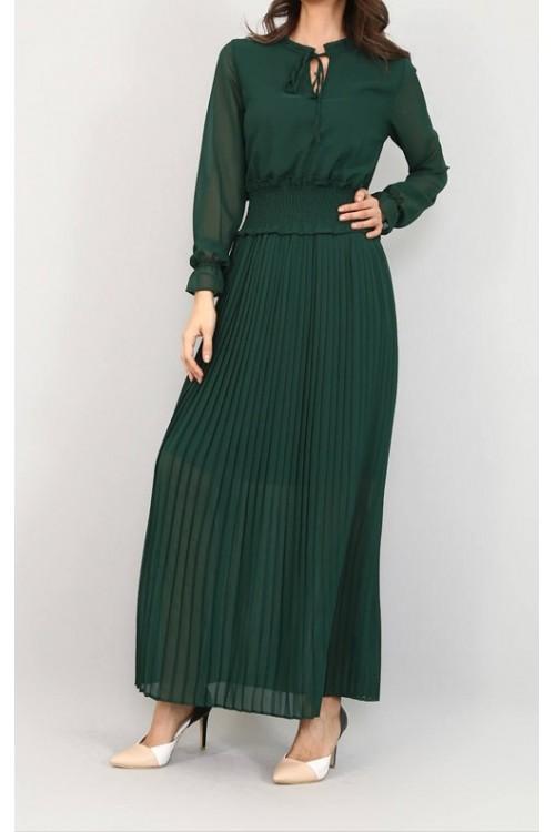 Eteği Piliseli Yeşil Şifon Elbise