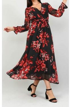 Çiçek Desenli Siyah Şifon Elbise