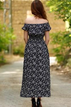 Karpuz Kol Lacivert Desenli Midi Elbise