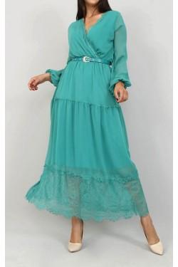 Etek Ucu Tül Su Yeşili Şifon Elbise