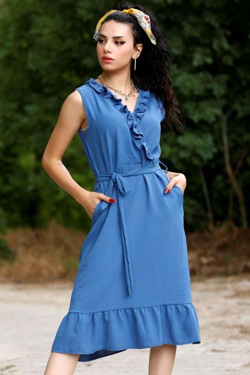 Mavi Asimetrik Elbise