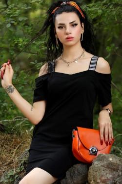Siyah Penye Askılı Elbise