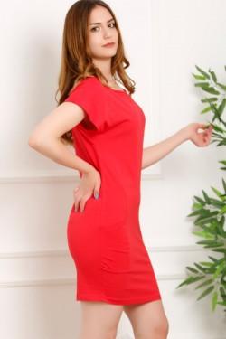 Kırmızı Cep Detaylı Elbise