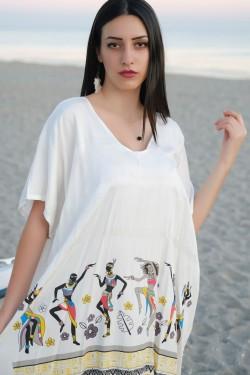 Beyaz Püsküllü Elbise